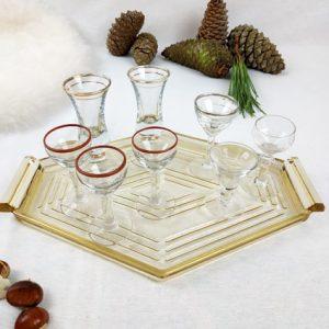 petit verre à pied à digestif transparent liseré doré ou bordeaux fabriqemoi