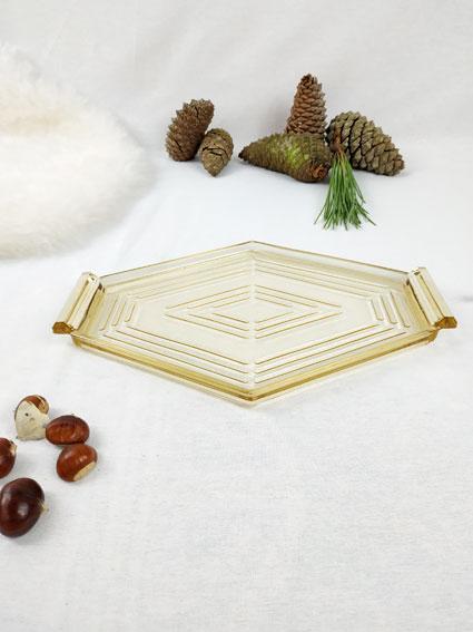 Petit plateau en verre transparent en forme de losange style vintage