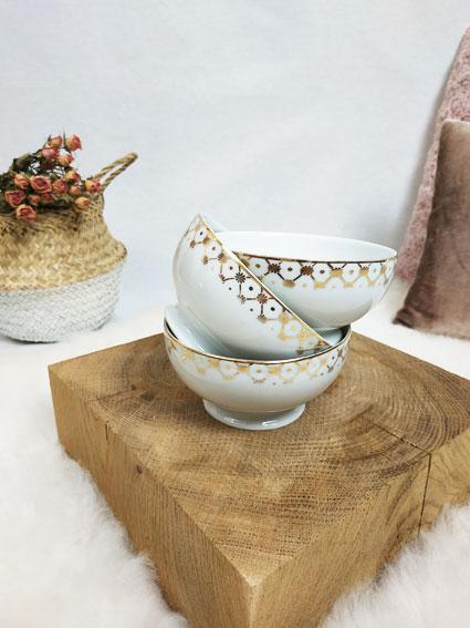 tasses en porcelaine blanche et liseré or fabriqemoi