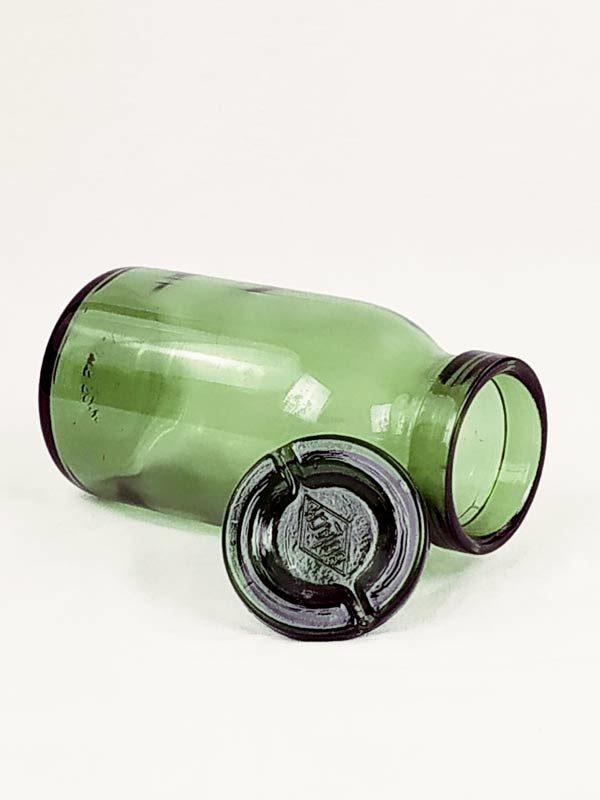 bocal et son couvercle en verre ancien de couleur vert de bulach suisse FabriQémoi