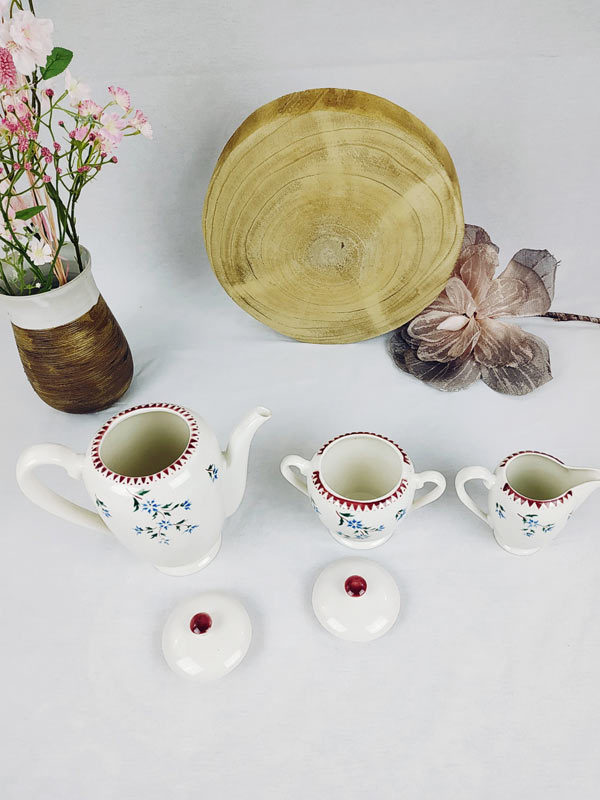 service cafetière sucrier pot à lait Gilbert France en porcelaine