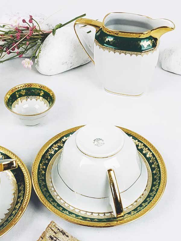 Ensemble 2 tasses soucoupes carafe à café pot à lait et sucrier vert et or FabriQémoi