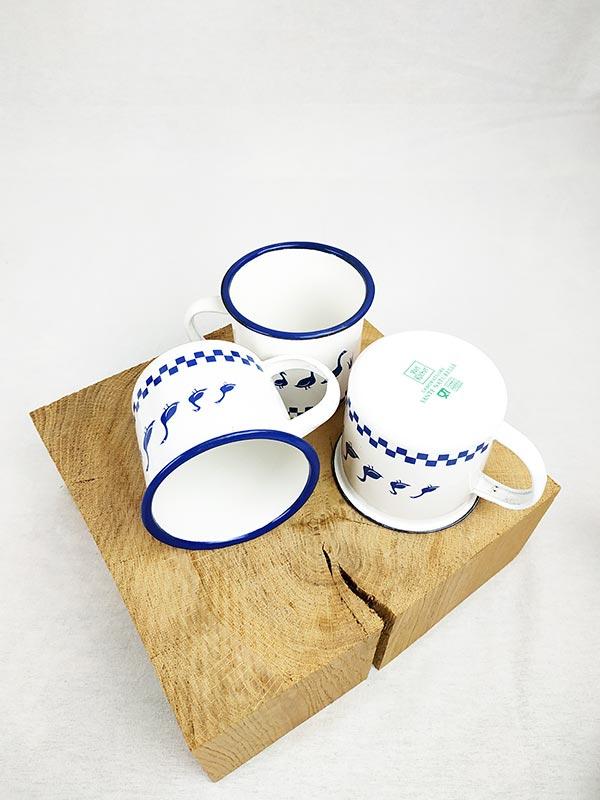 3 tasses émaillées bleues avec dessins de canards fabriqemoi