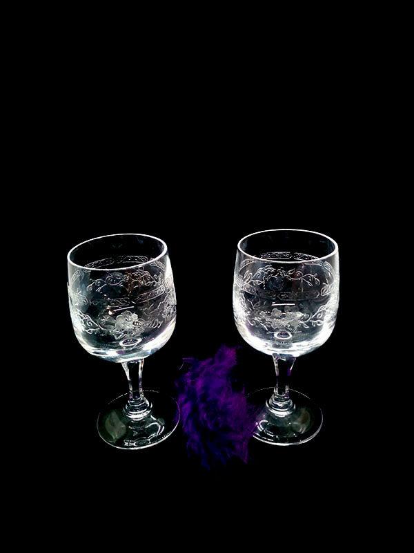 verre à porto à pied gravée pour apéritif