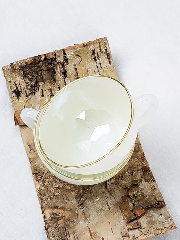 6 tasses nacrées blanches vintages fabriqemoi