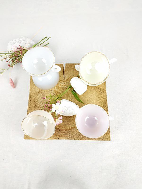 6 tasses nacrées roses vintages fabriqemoi