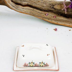 Beurrier en porcelaine blanc et rose en deux parties de fabriqemoi