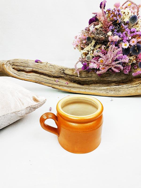 Pot en grés avec anse de couleur rouille fabriqemoi