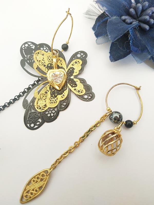 Boucles d'oreilles asymétriques vintage, pour les soirées mondaines couleur noire et or de FabriQémoi