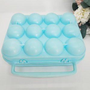 Boite à oeufs en plastique bleue turquoise vintage à 12 compartiments