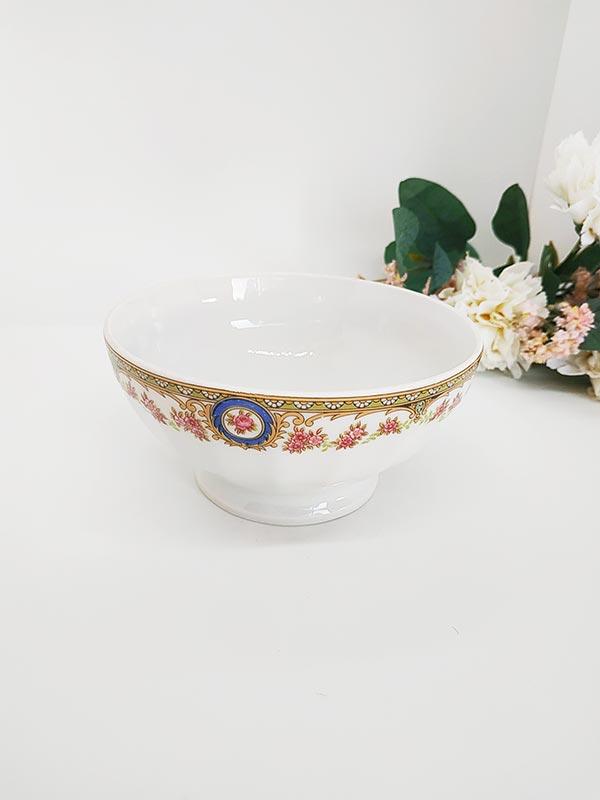 Bol en porcelaine de France de chauvigny avec liseré or et fleuri de chez Fabriqémoi