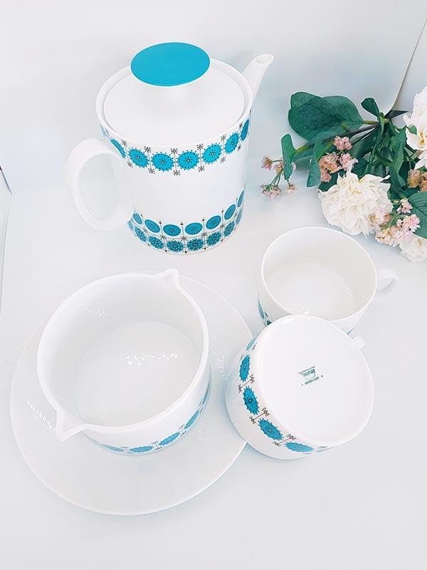 Ensemble théière pot à lait deux tasses bleu turquoise de Germany Thomas chez FabriQémoi