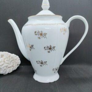 Cafetière verseuse en porcelaine blanche et fleurs dorées de FabriQémoi