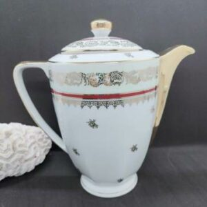 Cafetière porcelaine de limoge or et bordeaux