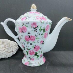 Cafetière en porcelaine véritable aux motifs de rose